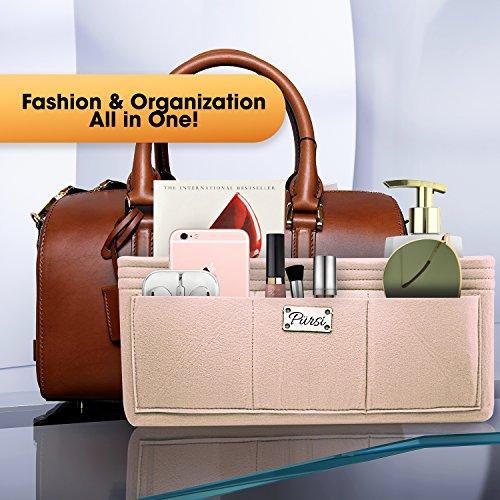 Pursi Handbag Purse Organizer Insert - Felt Fabric Multi Compartment Design by Pursi (Image #4)
