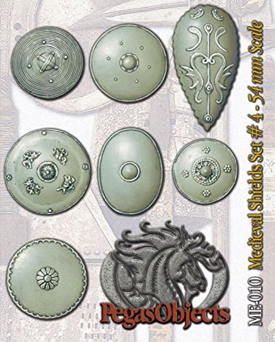 Pegaso Models 54mm 1:32 Oriental Medieval Shields Set 4 White Metal #ME-010