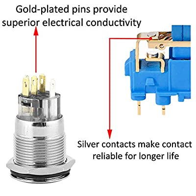 ESUPPORT Stainless Steel 19mm 12V 5A Car White Light Angel Eye Metal Push Button Switch Socket: Automotive