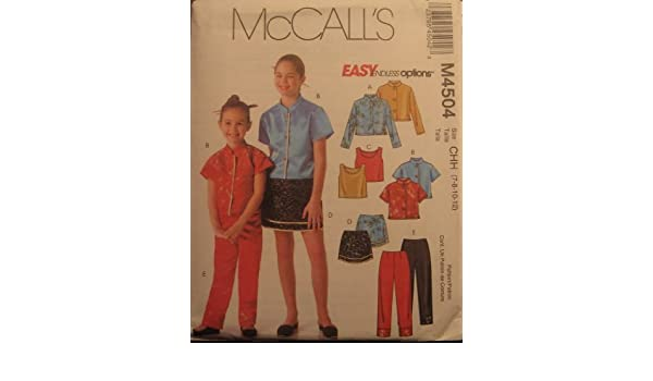 McCall/'s 4504 Girls/' Shirts Top Skirt and Pants   Sewing Pattern