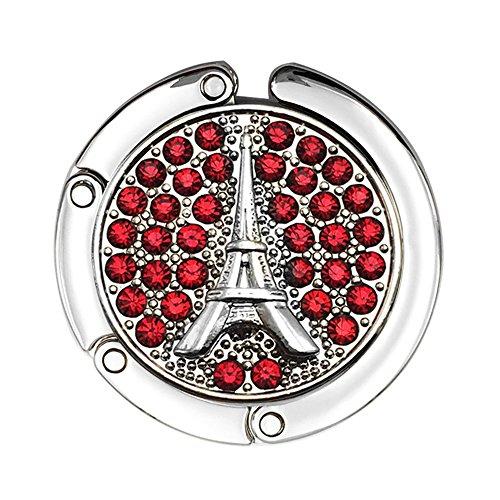 JewelBeauty Rhinestones Eiffel Tower Travel Folding Bag Purse Handbag Table Hook Hanger Holder Decor (Red)