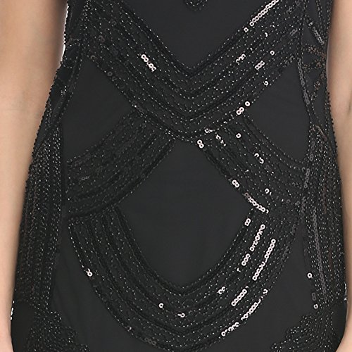 Pilot-trade Lady's Long black Flapper Dress Womens Fancy Dress Costume 20s 1920s Hen Party Ideas S