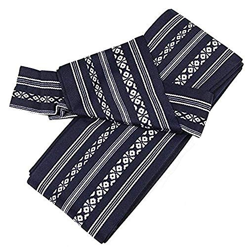 KYOETSU Men's Japanese Easy Kaku Obi Kimono belt (Navy) ()