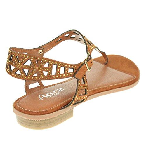 Mujer Señoras Maravilloso playa Correa de hebilla Punta abierta Verano Casual Comodidad Plano Sandalias Zapatos Tamaño camello