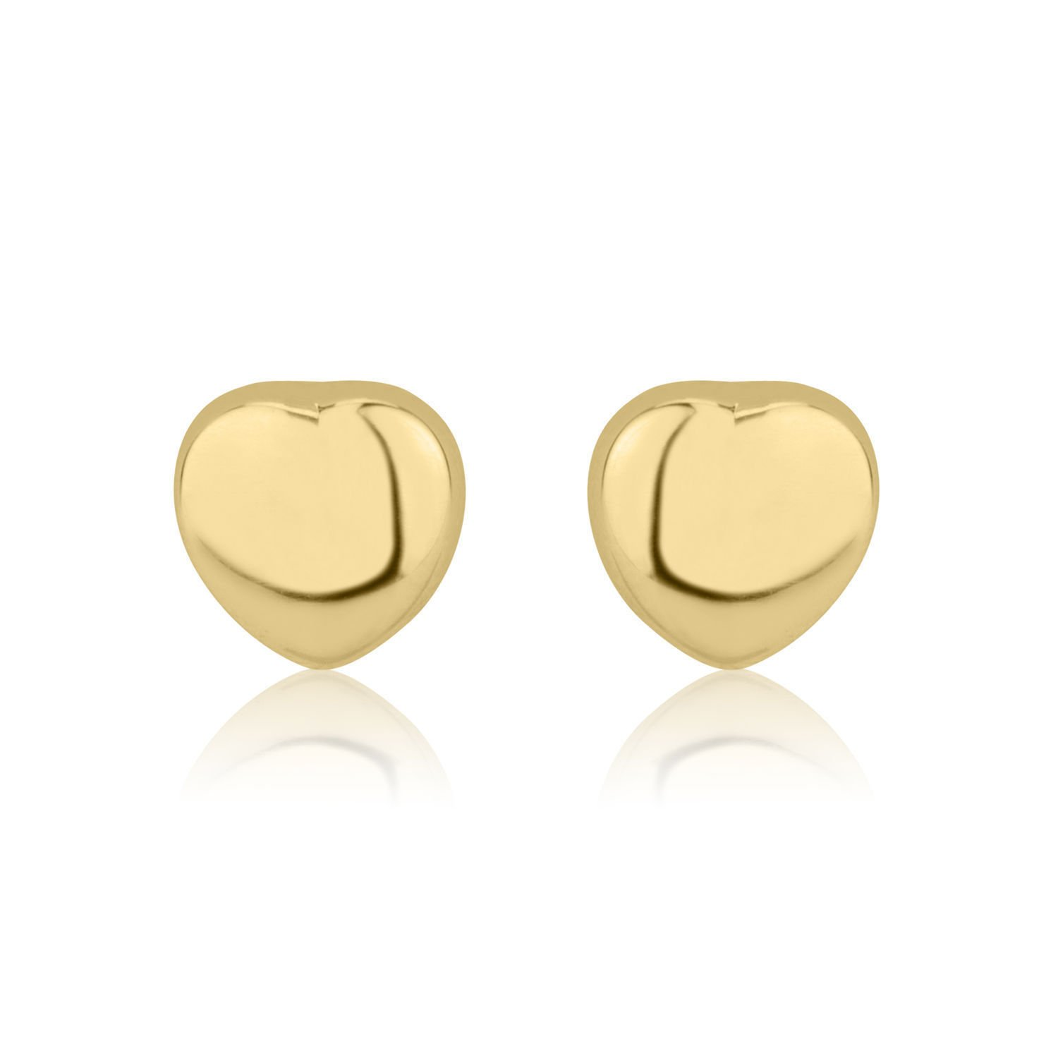 14K Fine Yellow Gold Heart Screw Back Stud Earrings for Girls Kids Children Gift by youme Gold Jewelry (Image #3)
