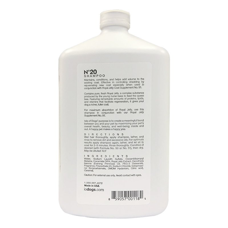 Isle of Dogs Coature No. 20 Royal Jelly Dog Shampoo for thin or shedding coats, 1 liter
