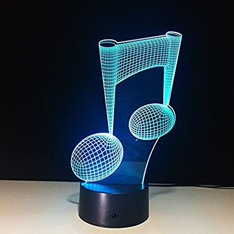 Visual 3D Night light Note Shape 2D Table Lamp for Music Guitar lovers toys Musical instruments Gift Acrylic LED lighting Furniture Decorative colorful 7 color change household Home Desk (Musical Instrument Accessories)