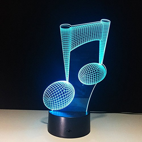 Visual 3D Night Light Note Shape 2D Table Lamp For Music