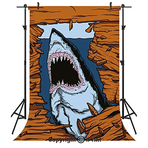 Caves Fun Fish Shark - Shark Photography Backdrops,Wild Fish Breaking Wooden Plank Danger Sign Killer Creature Fun Illustration,Birthday Party Seamless Photo Studio Booth Background Banner 3x5ft,Ginger Dark Blue