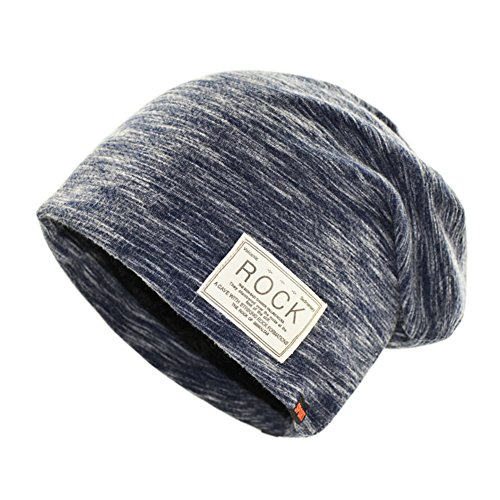 Infgreate Stylish Warm Hat Hip Hop Cap Winter Solid Color Beanie ROCK Patch Fleece Lining Casual Men Hat (Cap Oval Patch)