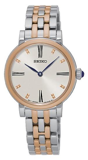 Seiko Reloj Analógico para Mujer de Cuarzo con Correa en Acero Inoxidable SFQ816P1: Amazon.es: Relojes