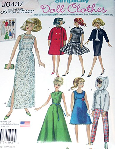 """Simplicity Sewing Pattern - Vintage Doll Clothes for 11.5"""" Fashion Dolls - J0437"""