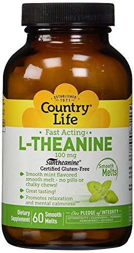 - Country Life - L-Theanine, Fast Acting Mint Melts, 100 mg - 60 Smooth Melts