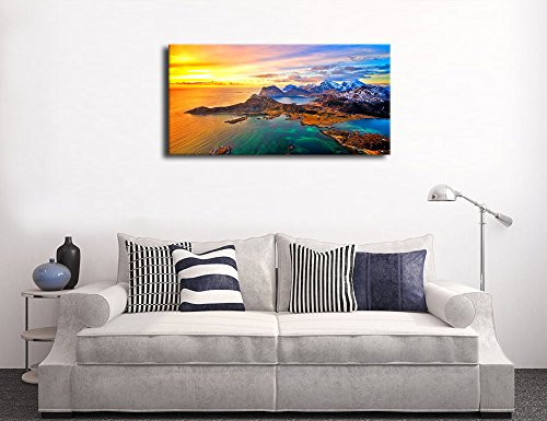 Canvas Wall Art Seascape Coast Island Mountain Lake Sunset Large Colorful Ocean Canvas Artwork Long Contemporary Wall Art Nature Pictures Island Blue Waves Orange Blue Sky for Office Home Decoration