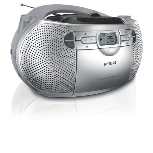 Philips AZ-1047 Boombox Sound Machine MP3 CD Player, Plays CD-R/RW with AM/FM Stereo Radio, Cassette Player and CD Shuffle (Silver)