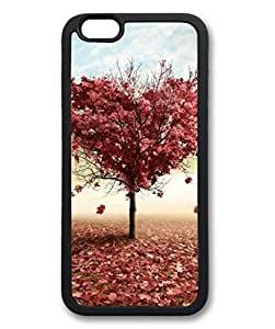 iCustomonline Custom Red Love Fall Tree Black Rubber Case for iPhone 6( 4.7 inch)