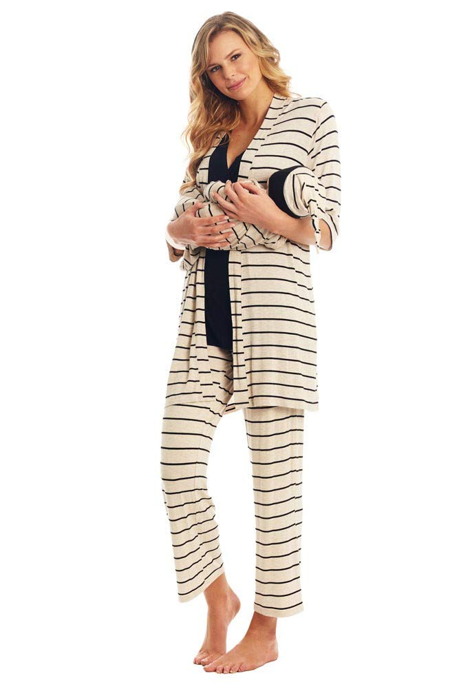 Analise 5-Piece Mom and Baby Maternity and Nursing PJ Set (Sand Stripes) XL
