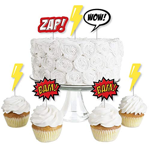 BAM! Superhero - Dessert Cupcake Toppers - Baby Shower or Birthday Party Clear Treat Picks - Set of 24 -