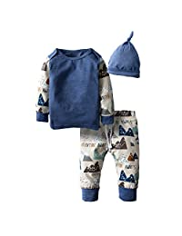 BIG ELEPHANT Baby Boys'3 Pieces Long Sleeve Tops Pants Set with Hat H94C
