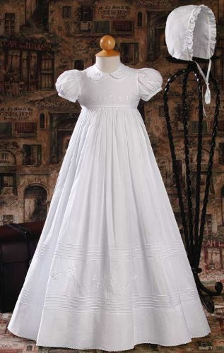 """Irish"" Cotton Heirloom Christening Gown with Hand Embroidered Shamrocks"