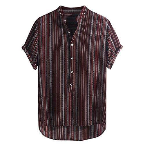 Stoota Mens Summer Striped Buttons Breathable Short Sleeve Casual Henley Shirts Wine]()