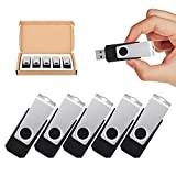 TOPSELL 5 Pack 32GB USB Flash Drives Flash Drive Flash Memory Stick Swivel USB 2.0 (32G, 5PCS, Black)