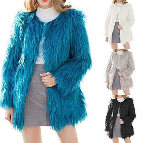 Pelo Largo Las Chaqueta Elegante Azul Beladla Vestir Mujer Abrigo XfOt6qwxt