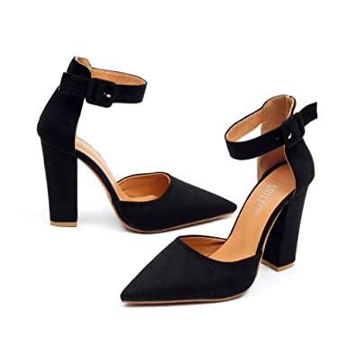 07e6043e25d2 chegong Women s Classic Closed Pointed Toe Ankle Strap Pumps Chunky High  Heel Sandals Black 35