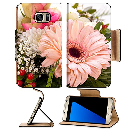 White Industries Daisy (Luxlady Premium Samsung Galaxy S7 EDGE Flip Pu Leather Wallet Case Bouquet of fresh pink and white flowers with a gerbera daisy dahlia roses in close up view as background for celebrating Mothers)