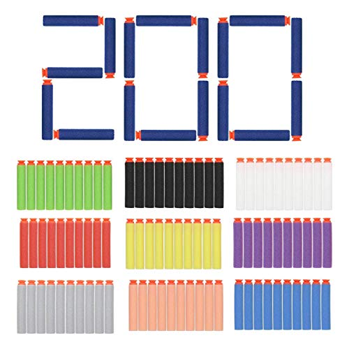 (EC2BUY 200pcs 7.2cm Refill Bullet Darts for Nerf N-strike Elite Series Blasters Kid Toy Gun - 10 Different Color(Suction head))