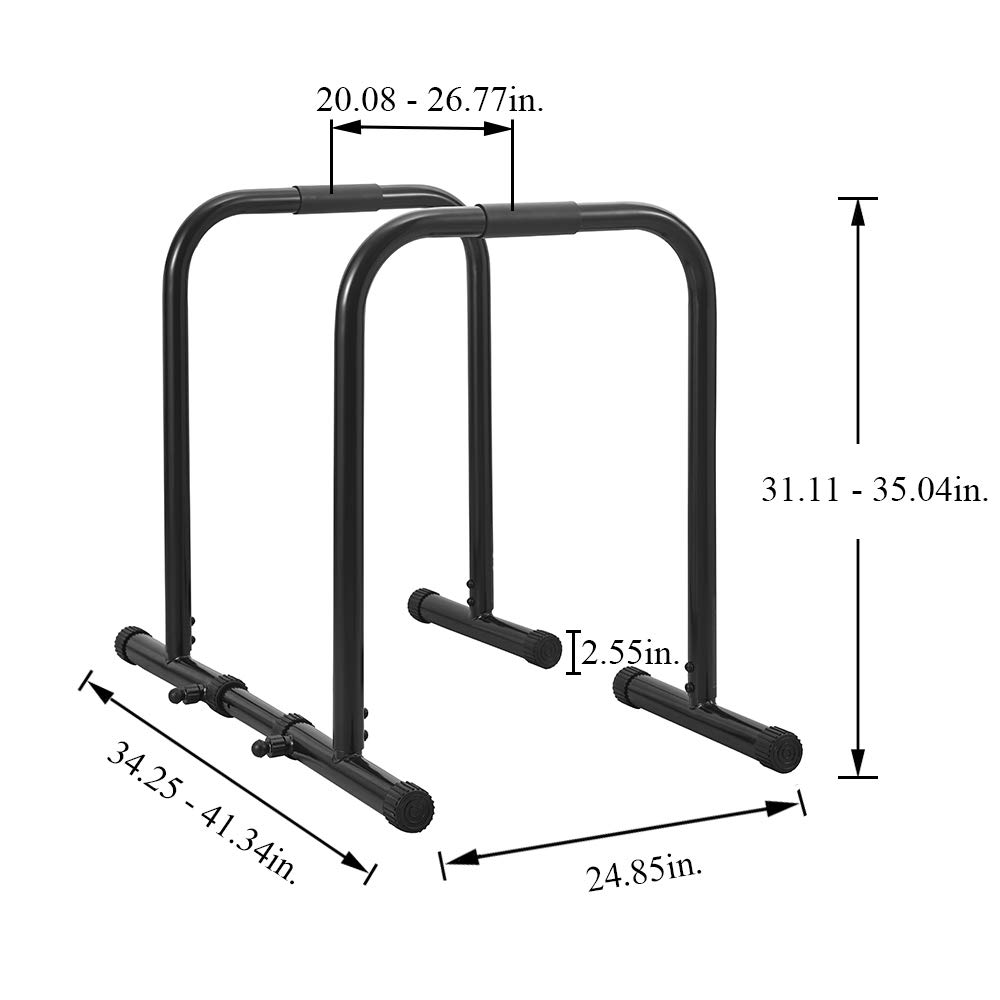 RELIFE REBUILD YOUR LIFE Dip Station Functional Heavy Duty Dip Stands Fitness Workout Dip bar Station Stabilizer Parallette Push Up Stand (Black) by RELIFE REBUILD YOUR LIFE (Image #3)