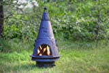 The Blue Rooster Co. Garden Style Cast Iron Wood Burning Chiminea in Charcoal.