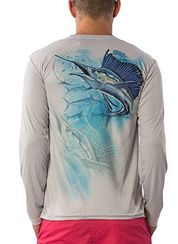 Men's Dri Fit Moisture Wicking Quick Dry UPF 40 UV Sun Protection Sport Athletic Performance Long Sleeve Fishing Shirt (2X-Large, Silver - - Fishing Shirt Thermal