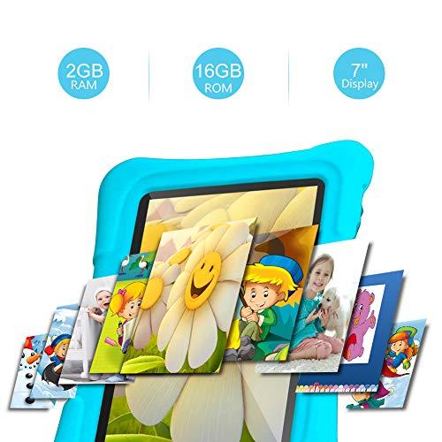 Dragon Touch Tablet para Niños con WiFi Bluetooth 7 Pulgadas 1024x600 Tablet Infantil de Android 9.0 Quad Core 2GB 16GB Doble Cámara Kid-Proof Funda Tablet Niños Educativo Y88X Pro Azul