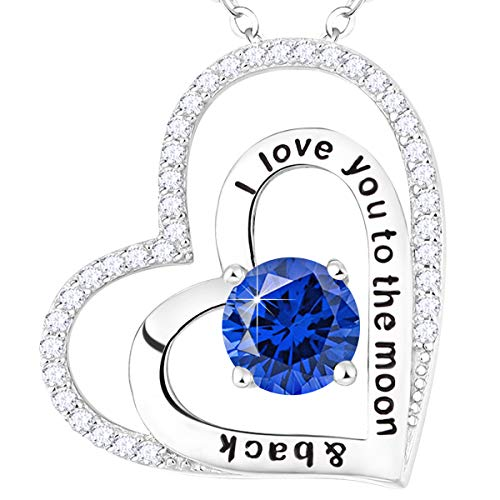 (Love Heart Necklace Jewelry Birthday Gifts for Women Sterling Silver Blue Sapphire September Birthstone Pendants Anniversary Necklace Gifts for Her Wife 20