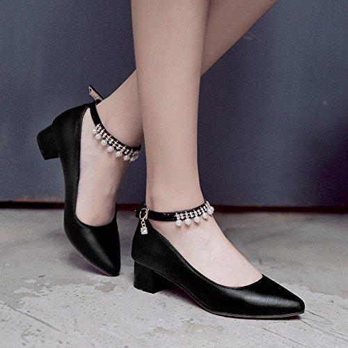 MissSaSa Damen Chunky heel Knöchelriemchen Pointed Toe Low-cut Pumps mit Strass und künstlich Perlen Schwarz