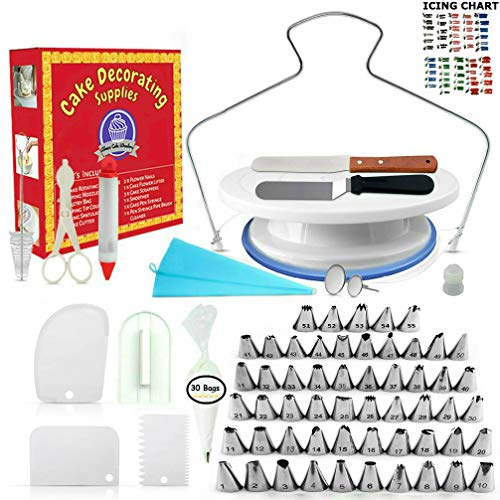 (Cake Decorating Supplies - (100 PCS SPECIAL CAKE DECORATING KIT) With 55 PCS Numbered Icing Tips, Cake Rotating Turntable and More Accessories! Create AMAZING Cakes With This Complete Cake)