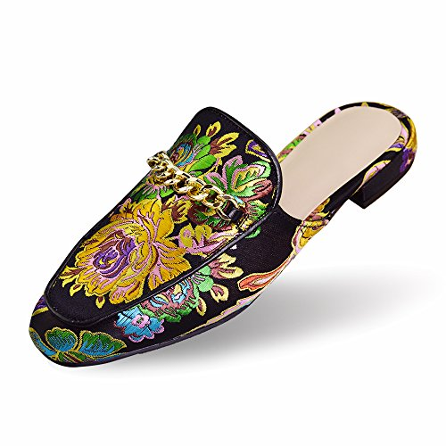 Elegant LA Women's PLAGE Style Chinese Decorations Floral Black Metal Comfort Natural with Mules aaYOwqS