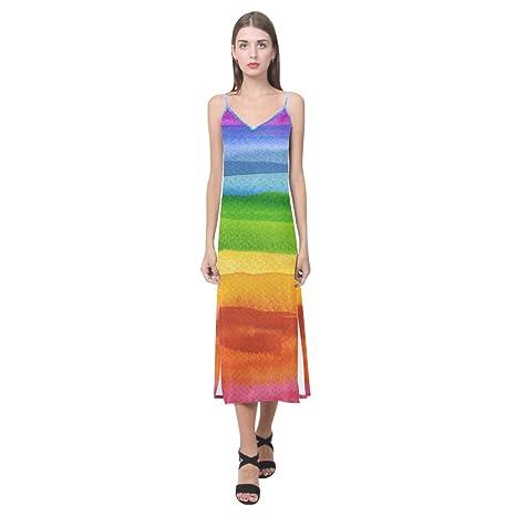 41606d3531a1 Amazon.com  InterestPrint Dresses V-neck Long Dress Abstract Acrylic ...