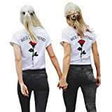 Women T-Shirt ODGear Girls Summer Best Friend Letters Rose Floral Printed Shirts Causal Blouses Tops Clearance