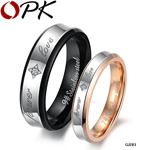 [Dudee Jewelry Stainless Steel Wedding Bands Couple Ring Retro Style FOREVER LOVE His Hers Promise Engagement Set For Men Women] (Matching His And Her Costumes)