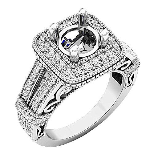 Sapphire Semi Mount - Dazzlingrock Collection 14K Princess Blue Sapphire & Round White Diamond Semi Mount Ring, White Gold, Size 7