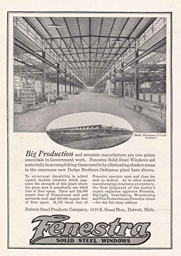 Fenestra Windows (1918 Fenestra Solid Steel Windows: Dodge Brothers, Detroit Steel Products Print Ad)