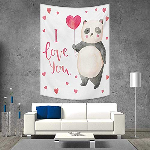 smallbeefly Love You Tapestry Wall Hanging 3D Printing Cute Panda Bear Holding A Balloon Valentines Hearts Watercolor Art Beach Throw Blanket 60W x 80L INCH Dark Coral Ivory Gray