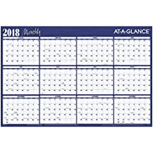 "AT-A-GLANCE Yearly Wall Planner, January 2018 - December 2018, 36"" x 24"", Horizontal, Erasable, Reversible, Red / Blue (A102)"