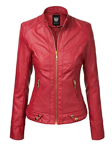 LL WJC747A Womens Dressy Vegan Leather Biker Jacket S RED