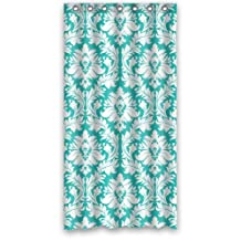 "36"" x 72"" Creative Home Ideas Teal Turquoise Damask Pattern Vintage French Floral Swirls Fabric Shower Curtain with Hook"