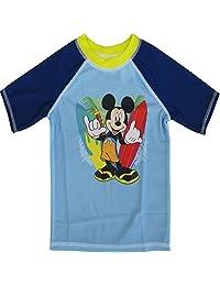 Disney Little Boys Sky Blue Mickey Mouse Print Rash Guard Swimwear Shirt 2-4T