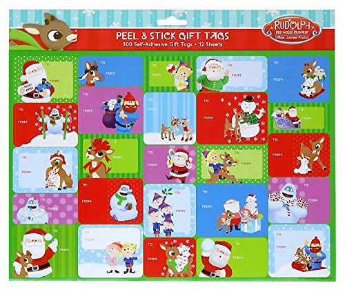 Rudolph The Red Nosed Reindeer Movie Self Adhesive Gift Tags, 300 Total Tags