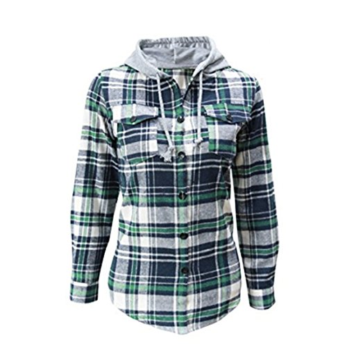 Women's Soft Classic Mid-Long Plaid Checker Cotton Hoodie Button-up Flannel Slim Shirts Top (Lable Size XXL=US Size L, Green) L/s Shirt Jacket